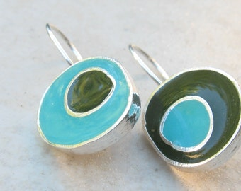 Colorful Earrings.Turquoise Earrings.green earrings.silver and resin earrings.dangle earrings.women gift.two tone earrings.silver earrings.