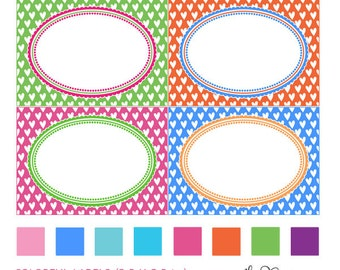 Colorful heart patterned digital printable labels, editable PDF labels and task cards, commercial use