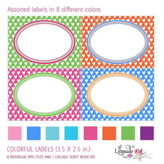 Colorful heart patterned digital printable labels editable