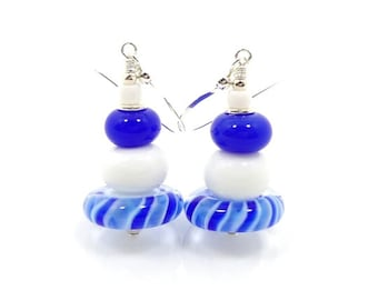 Blue & White Earrings, Lampwork Earrings, Glass Earrings, Glass Bead Earrings, Beaded Earrings, Beadwork Earrings, Unique Earrings