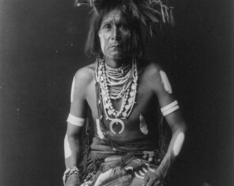 Hopi Snake Priest vintage image suitable for hanging.