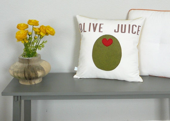 Olive Juice - Pillow - Pillow Cover - Decorative Pillow - Mother's Day - Gift for Mom - Olive Green - Hand Stamped