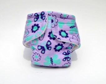 Purple Butterflies Baby Doll Diaper - Size Large