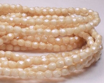 100 Light Creamy Beige Czech Glass Fire Polished 3mm Faceted Round Beads 3mm/033