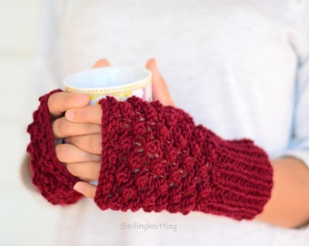 Fingerless Gloves, Hand Knit Gloves, Arm Warmers, Burgundy Red, Christmas Gift, Stocking Stuffers