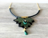 Green Patent Leather Necklace With a Tiny Tassel