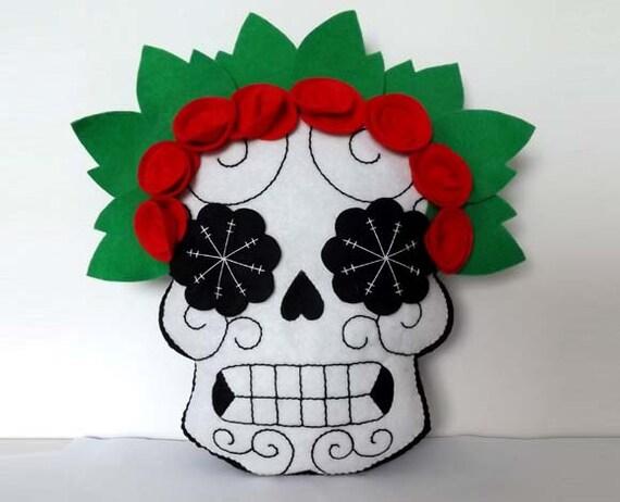 Sugar Skull Doll Day of the Dead Plush Pillow