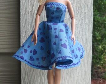 Handmade Barbie Doll Dress ~ Blue with Purple Heart Flowered Barbie Doll Dress!
