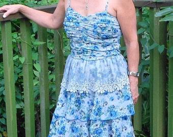 Fun Summer Dress, (Sm)Blue Lace Dress, Flower Print,Spagetti Strap Top,Femine,Embroidered Lace,Renaissance Dress, Bohemian Style, New