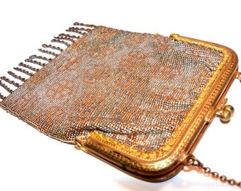 Antique 1920s Flapper era Metal Bead Purse Orange Metal Beads Flowers Fringe