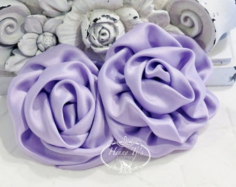 "2 pcs: 3"" Lavender Adorable Rolled Satin Rose Rosettes Fabric flowers Appliques"