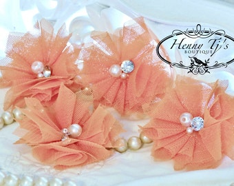 Elena TULLE : 4 pieces  MOONSTONE Small Tulle Mesh Flowers With rhinestone Pearl Center Poof Flowers Hair accessories