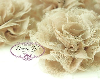 NEW: 4 pieces Small Shabby Chic Frayed Chiffon Mesh and Lace PUFFY Rose Fabric Flower - BEIGE / Sand