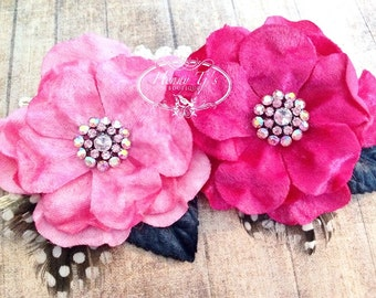 """NEW: Prima Flowers Plume """"Candy"""" 575502 Pink and Fuchsia Velvet Fabric Flower with Rhinestone center with leaves and Feathers."""