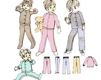 Style 2655 Toddler Boys Girls Footed Pajamas 70s Vintage Sewing Pattern UNCUT Size 3 Breast 22 inches NO PACKET
