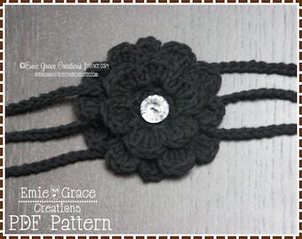Flower Headband Crochet Pattern - 3-STRAP - 607