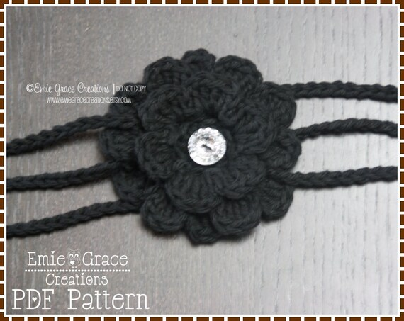 Flower Headband Crochet Pattern - 3-STRAP - 607