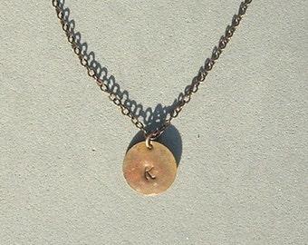 Antique Copper Initial K Necklace