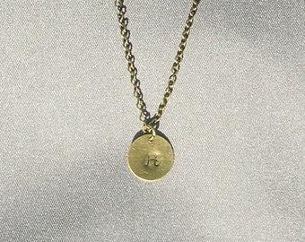 Antique Bronze Initial H Necklace