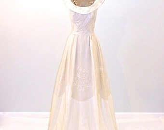 Vintage 1960s Wedding Dress, Ivory 60s Wedding Gown, Embroidered Organza Bridal Dress, XS