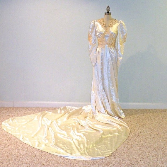 1940s Wedding Dress, 40s Ivory Slipper Satin Wedding Gown with Beaded HeadPiece, Soutache Embroidery & Cathedral Train