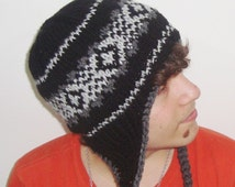 Wool Mens Hat Men's Winter Hat with Earflap in Black, Grey Hand Knitted Men Hat, Mens Gift for Him
