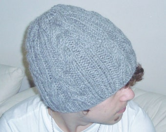 Knit mens hats winter xl cable knit alpaca wool gray beanie gift for men