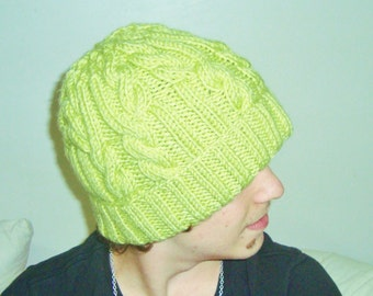 Hand Knit hat man hat woman hat Yellow Green Cable knit brim Hat Beanie hat