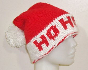 HO HO HO personalized womens, santa hat in white and red, hand knitted hat, funny hat, christmas womens gift