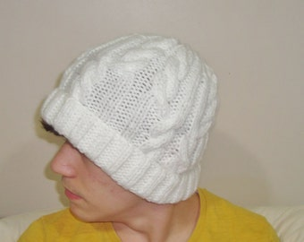 White Hat White Cable Knit Hat White Mens Hat Hand Knit Hat for Mens hat