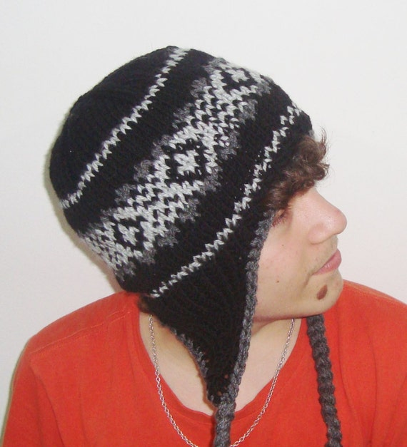 Knitting Pattern Hat Man : Wool Mens Hats Mens Winter Hat with Earflap in Black