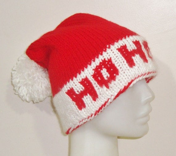 ho ho ho personalized womens santa hat in white and