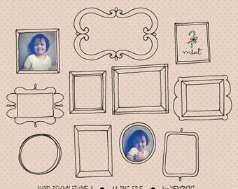 50% OFF SALE 44 Hand Drawn Digital Frames Set 4 Clipart Kit for digital scrapbooking, frame, invitation, stationery
