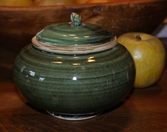 Ceramic Honey Jar / Porcelain Pottery Sugar Jar / Green