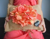 Custom Ring Bearer Burlap Pillow Rustic Personalized Chalkboard or Wood Heart Tag Shown with Coral Hydrangeas