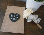 Rustic Guest Book and Guest Book Pen SET Advice for Bride Book with Personalized Chalkboard WoodBurned Heart Recycled Brown Paper