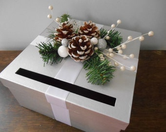 Winter Wonderland Wedding Card Box Silver and White with Pinecones Snowflakes