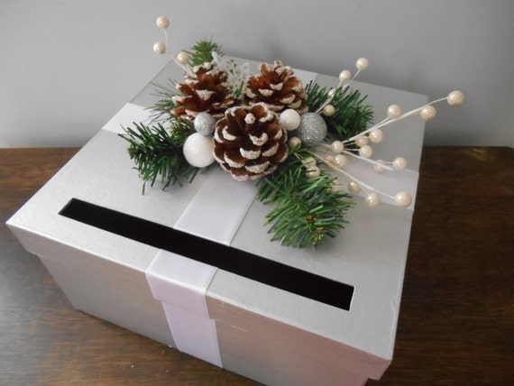 Items similar to Winter Wonderland Wedding Card Box Silver and White ...