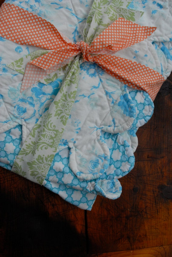 SALE! Baby Quilt in Blue Floral and Geometric Prints with Scallops
