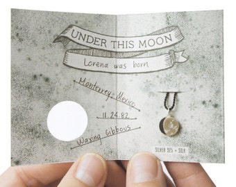UNDER THIS MOON / Bracelet - Customized lunar phase charm of your special night in silver and silk, astronomy, black, red