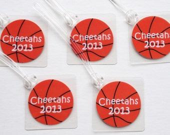 Basketball Bag Tags Set Basketball Team Bag Tags Basketball Gifts Basketball Girl Bag Tags Team Gifts Basketball Party Favors SET OF 5 TAGS