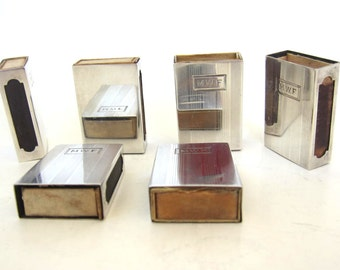Antique Set of 6 Sterling Silver Matchholders by International Silver Co