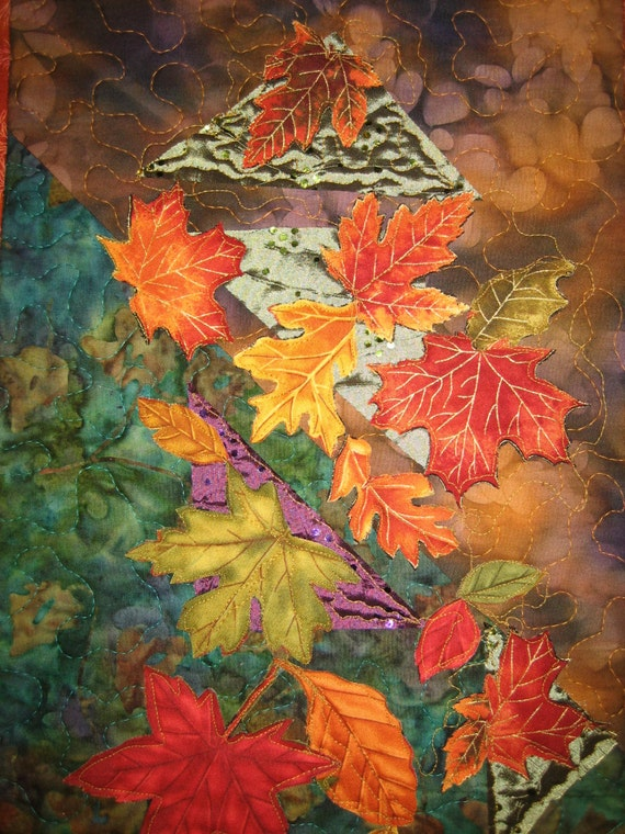 Falling Leaves Art Quilt Batik Wall Hanging