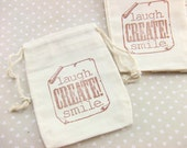 Stamped Favor Bags Size 2.75 x 4 Inches - Premium Double Drawstring Natural Cotton Muslin Bags Packaging & Gift Wrap