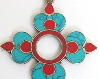 Tibetan Lotus flower Dharma wheel pendant PM092