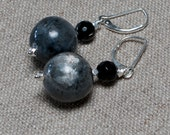 Black Labradorite & Onyx Sterling Silver Earrings