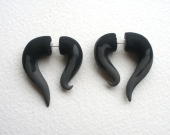 Black Grey Fake Gauge Earring- Taper - Dark -Piercing - Gray