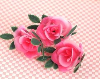 Pink rose cupcake topper / Retro flower cake topper / (12)