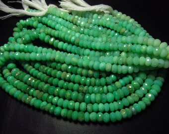 15 inches - Full Strand - Gorgeous High Quality - Green - CRYSOPHRASE - Micro Faceted Rondell Beads size 6 mm approx
