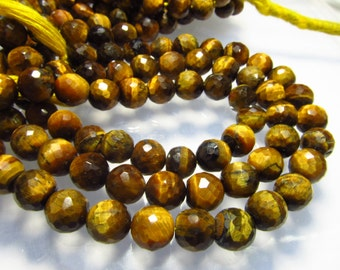 10 inches - So Beautiful - TIGER'S EYE - Faceted Round Ball Beads Nice Faceted Sparkle Huge Size 6 - 7 mm approx